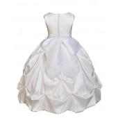 Ivory/White Satin Taffeta Pick-Up Bubble Flower Girl Dress 301S