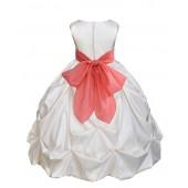 Ivory/Coral Satin Taffeta Pick-Up Bubble Flower Girl Dress 301S