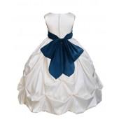 Ivory/Peacock Satin Taffeta Pick-Up Bubble Flower Girl Dress 301S