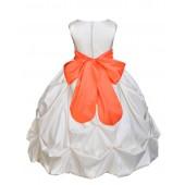 Ivory/Orange Satin Taffeta Pick-Up Bubble Flower Girl Dress 301S