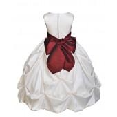 Ivory/Burgundy Satin Taffeta Pick-Up Bubble Flower Girl Dress 301S