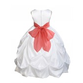 White/Coral Satin Taffeta Pick-Up Bubble Flower Girl Dress 301S