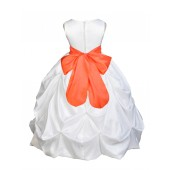 White/Orange Satin Taffeta Pick-Up Bubble Flower Girl Dress 301S