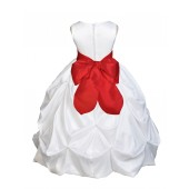 White/Red Satin Taffeta Pick-Up Bubble Flower Girl Dress 301S