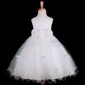 White Butterflies Tulle Flower Girl Dress 3-Flower Sash 509A