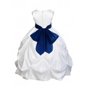 White/Navy Satin Taffeta Pick-Up Bubble Flower Girl Dress 301S