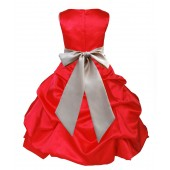Red/Champagne Satin Pick-Up Bubble Flower Girl Dress Christmas 806S