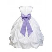 White/Lilac Satin Taffeta Pick-Up Bubble Flower Girl Dress 301T