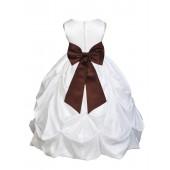 White/Brown Satin Taffeta Pick-Up Bubble Flower Girl Dress 301T