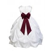 White/Burgundy Satin Taffeta Pick-Up Bubble Flower Girl Dress 301T