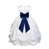 White/Navy Blue Satin Taffeta Pick-Up Bubble Flower Girl Dress 301T