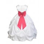 White/Watermelon Satin Taffeta Pick-Up Bubble Flower Girl Dress 301T
