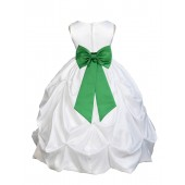 White/Lime Satin Taffeta Pick-Up Bubble Flower Girl Dress 301T
