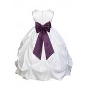 White/Plum Satin Taffeta Pick-Up Bubble Flower Girl Dress 301T