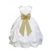 White/Canary Satin Taffeta Pick-Up Bubble Flower Girl Dress 301T