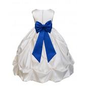 Ivory/Royal Blue Satin Taffeta Pick-Up Bubble Flower Girl Dress 301T