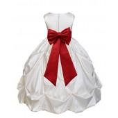 Ivory Satin/Apple Red Taffeta Pick-Up Bubble Flower Girl Dress 301T