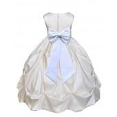 Ivory/White Satin Taffeta Pick-Up Bubble Flower Girl Dress 301T
