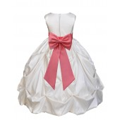 Ivory/Coral Satin Taffeta Pick-Up Bubble Flower Girl Dress 301T