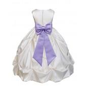 Ivory/Lilac Satin Taffeta Pick-Up Bubble Flower Girl Dress 301T