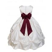 Ivory/Burgundy Satin Taffeta Pick-Up Bubble Flower Girl Dress 301T