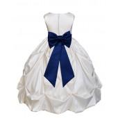 Ivory/Navy Satin Taffeta Pick-Up Bubble Flower Girl Dress 301T