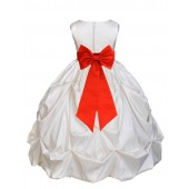Ivory/Red Satin Taffeta Pick-Up Bubble Flower Girl Dress 301T