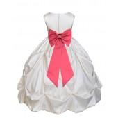 Ivory/Watermelon Satin Taffeta Pick-Up Bubble Flower Girl Dress 301T
