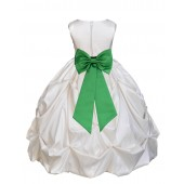 Ivory/Lime Satin Taffeta Pick-Up Bubble Flower Girl Dress 301T
