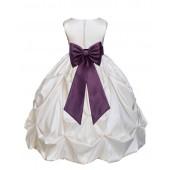 Ivory/Plum Satin Taffeta Pick-Up Bubble Flower Girl Dress 301T