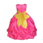 Fuchsia/Sunbeam Satin Taffeta Pick-Up Bubble Flower Girl Dress 301S