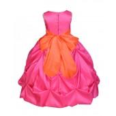 Fuchsia/Orange Satin Taffeta Pick-Up Bubble Flower Girl Dress 301S
