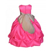 Fuchsia/Champagne Satin Taffeta Pick-Up Bubble Flower Girl Dress 301S