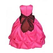 Fuchsia/Burgundy Satin Taffeta Pick-Up Bubble Flower Girl Dress 301S