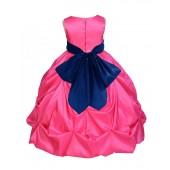 Fuchsia/Navy Satin Taffeta Pick-Up Bubble Flower Girl Dress 301S