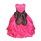 Fuchsia/Brown Satin Taffeta Pick-Up Bubble Flower Girl Dress 301S