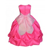 Fuchsia/Pink Satin Taffeta Pick-Up Bubble Flower Girl Dress 301S