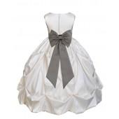 Ivory/Mercury Satin Taffeta Pick-Up Bubble Flower Girl Dress 301T