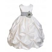 Ivory/Silver Satin Taffeta Pick-Up Bubble Flower Girl Dress 301S