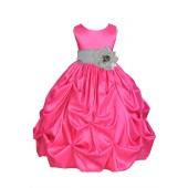 Fuchsia/Silver Satin Taffeta Pick-Up Bubble Flower Girl Dress 301S