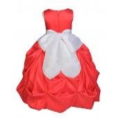 Red/White Satin Taffeta Pick-Up Bubble Flower Girl Dress 301S