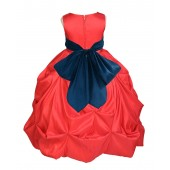 Red/Peacock Satin Taffeta Pick-Up Bubble Flower Girl Dress 301S