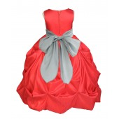 Red/Silver Satin Taffeta Pick-Up Bubble Flower Girl Dress 301S