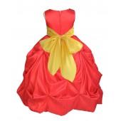 Red/Sunbeam Satin Taffeta Pick-Up Bubble Flower Girl Dress 301S