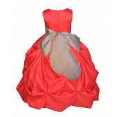 Red/Champagne Satin Taffeta Pick-Up Bubble Flower Girl Dress 301S