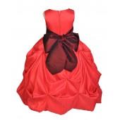 Red/Burgundy Satin Taffeta Pick-Up Bubble Flower Girl Dress 301S