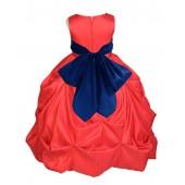 Red/Navy Satin Taffeta Pick-Up Bubble Flower Girl Dress 301S