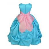 Pool Blue/Pink Satin Taffeta Pick-Up Bubble Flower Girl Dress 301S