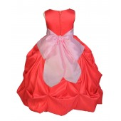 Red/Pink Satin Taffeta Pick-Up Bubble Flower Girl Dress 301S
