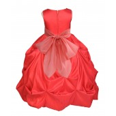 Red/Coral Satin Taffeta Pick-Up Bubble Flower Girl Dress 301S